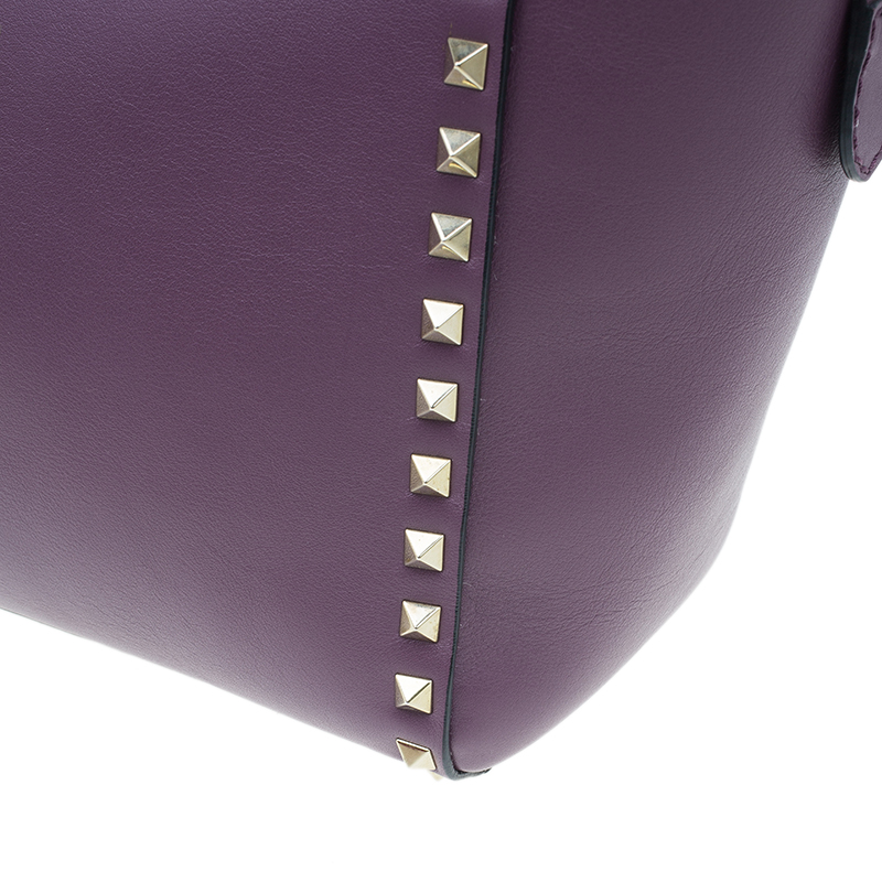 Valentino Purple Leather Rockstud Double Handle Bag