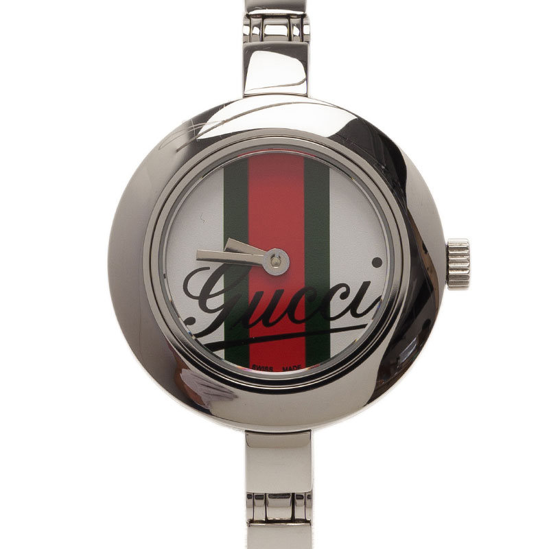 Gucci Logo Stainless Steel YA105 Women's Wristwatch 25MM