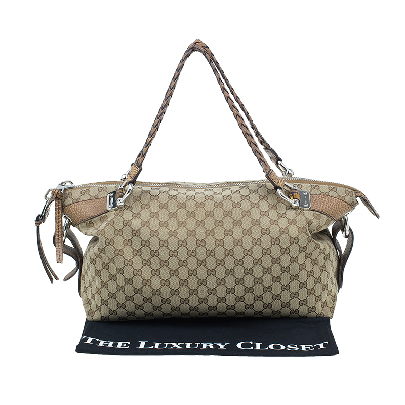 Gucci Beige GG Canvas Medium Bamboo Bar Tote Bag