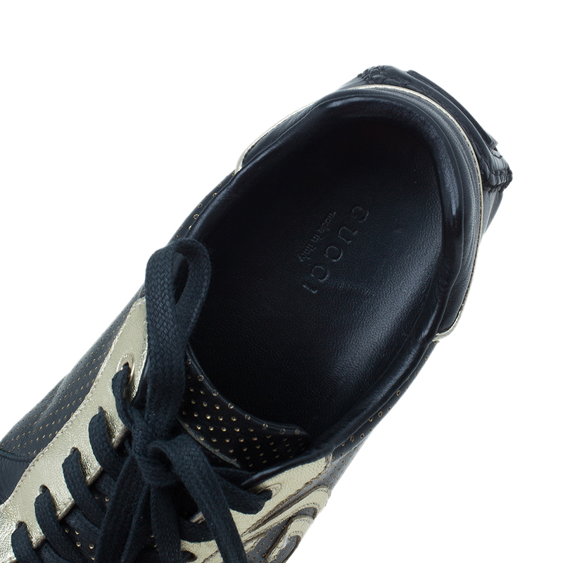 Gucci Black and Gold Leather Logo Sneakers Size 36