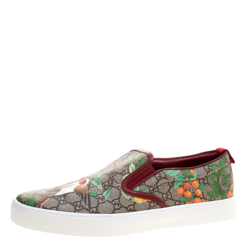 Gucci Beige GG Supreme Canvas Tian Bird Printed Slip On Sneakers