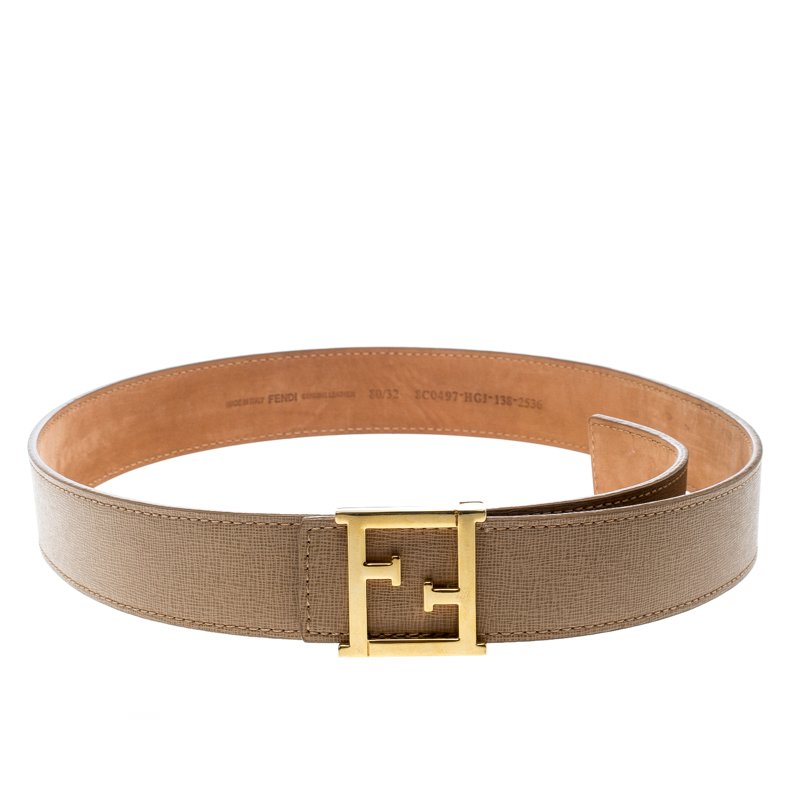 Купить со скидкой Fendi Beige Saffiano Leather Logo Buckle Belt 80cm