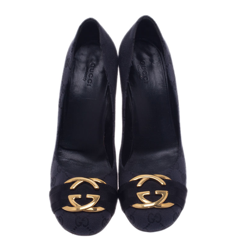 Gucci Black Guccissima Canvas Interlocking G Buckle Pumps Size 38.5