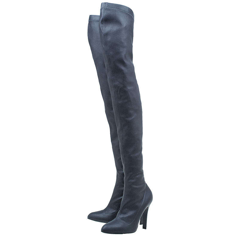 Stella McCartney Grey Faux Leather Over the Knee Boots Size 38