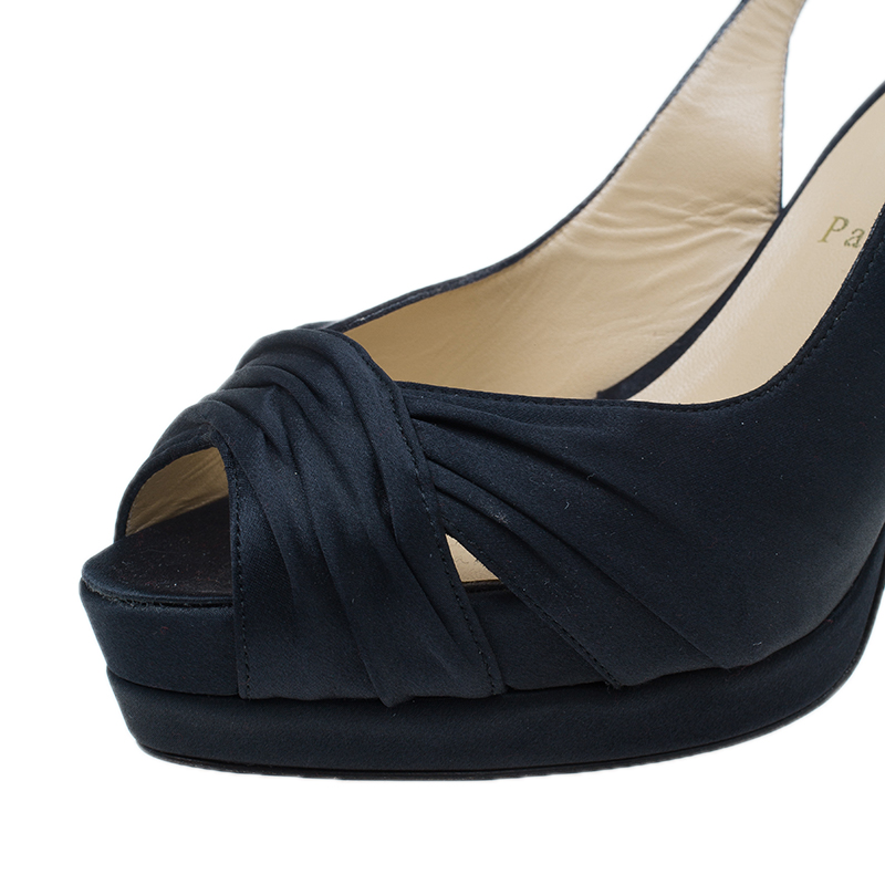 Christian Louboutin Black Pleated Satin Platform Satin Slingback Sandals Size 38