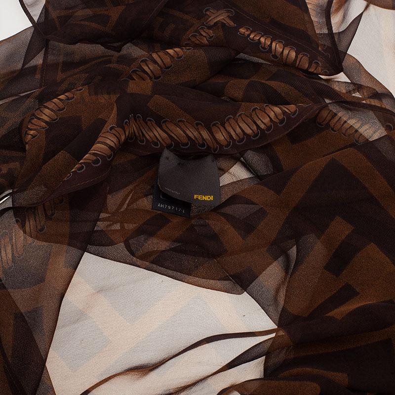 Fendi Brown Zucca Silk Stole