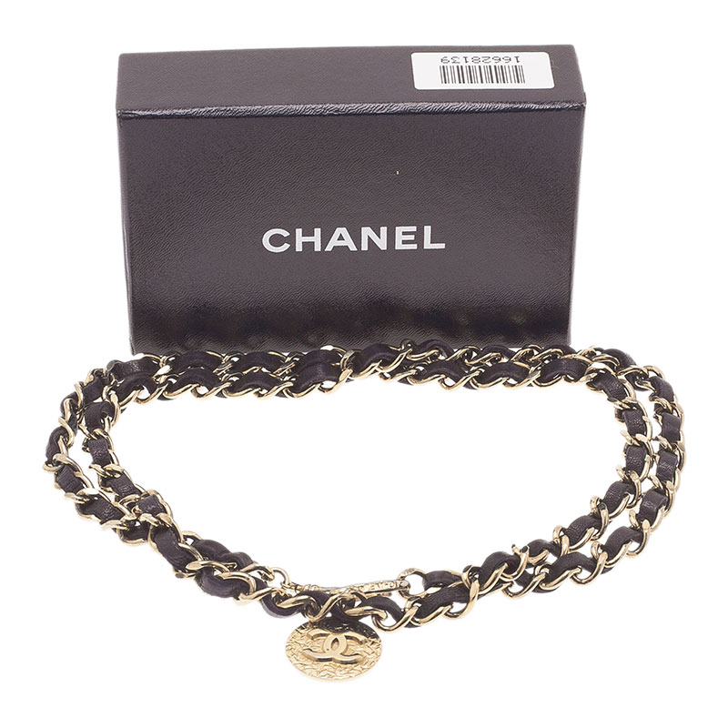 Chanel Gold Woven Leather and Chain Link Belt 95CM