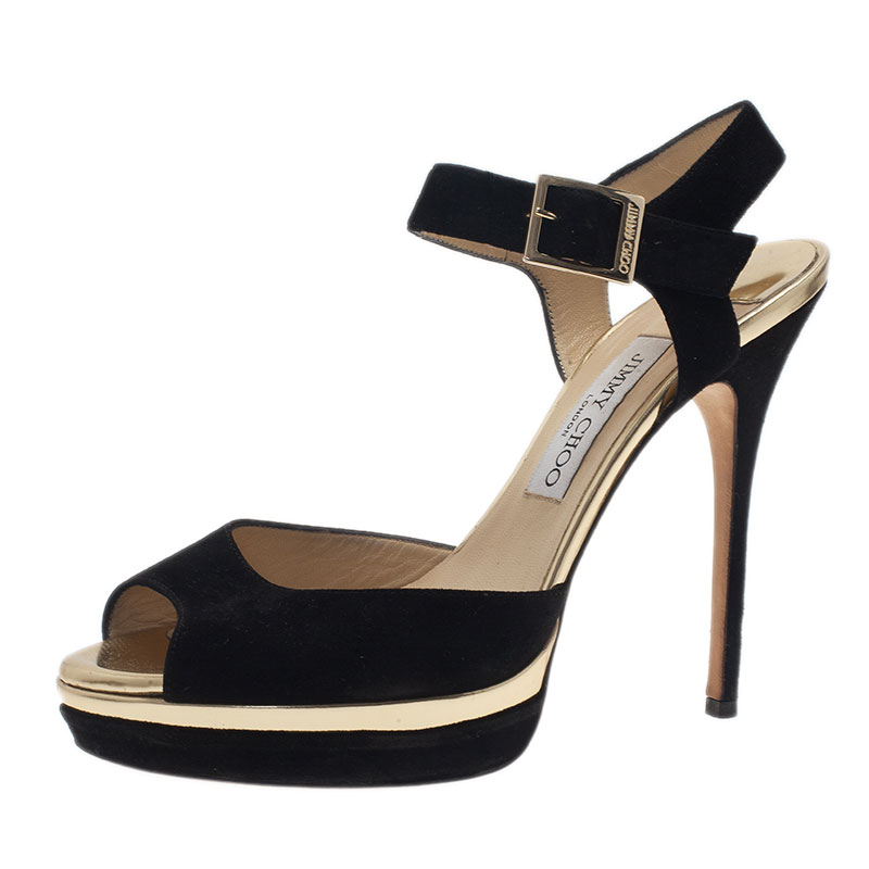 Jimmy Choo Black Suede Ankle Strap Sandals Size 39.5