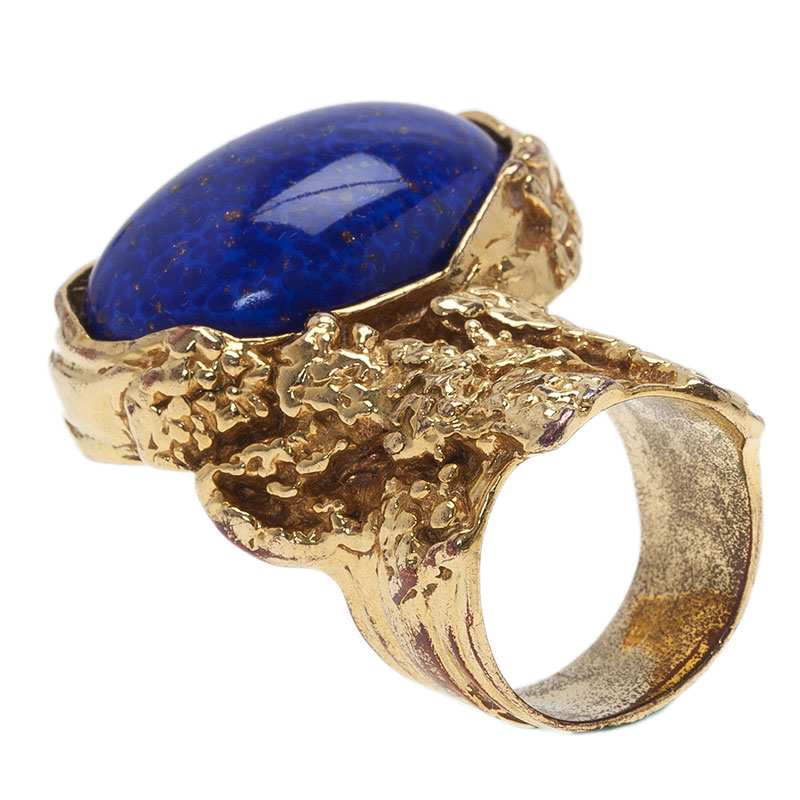 Saint Laurent Paris Arty Blue Gold Tone Ring Size 57