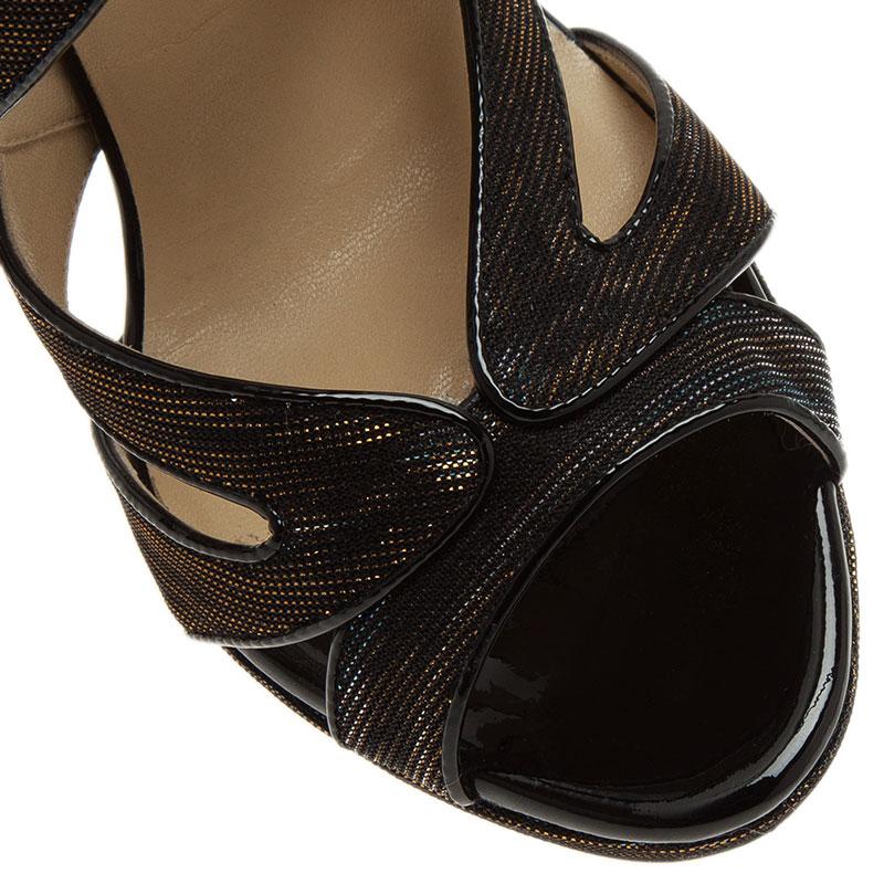 Jimmy Choo Black Lamé Collar Strappy Sandals Size 39.5