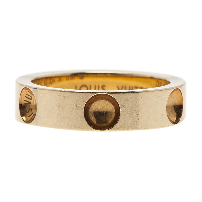 Louis Vuitton Empreinte Alliance Yellow Gold Band Ring Size 54