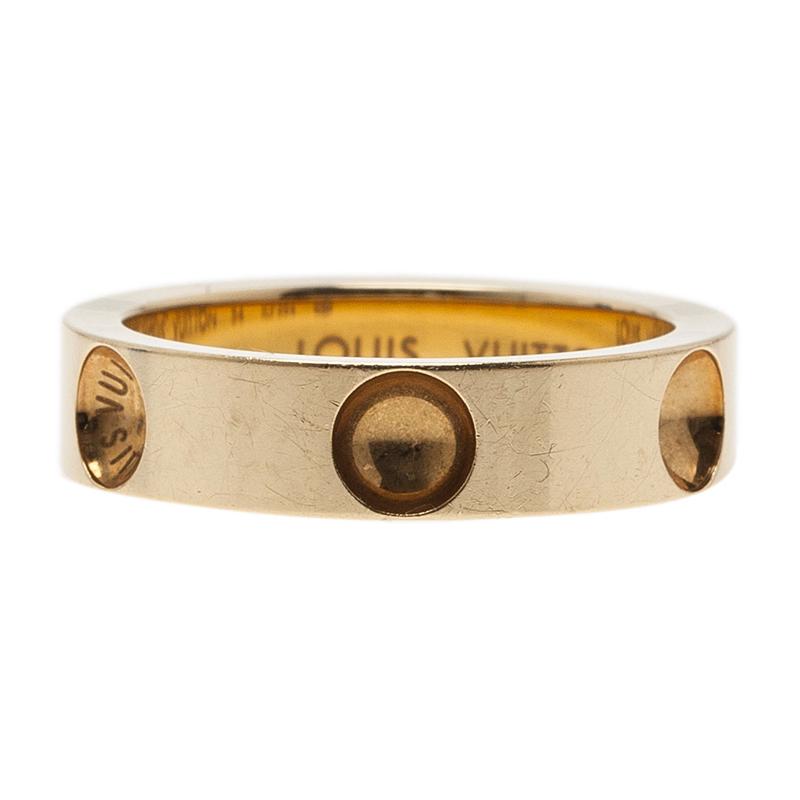 Louis Vuitton Empreinte Alliance Yellow Gold Band Ring Size 54