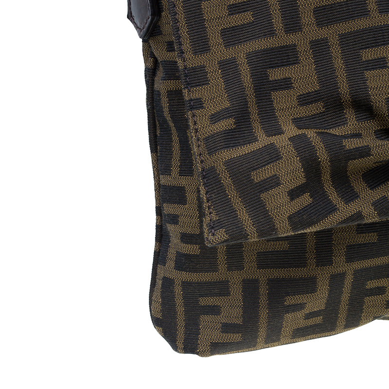 Fendi Brown Zucca Canvas Logo Jacquard Flap Bag