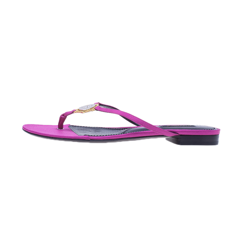 Dolce and Gabbana Pink Satin Thong Sandals Size 38.5