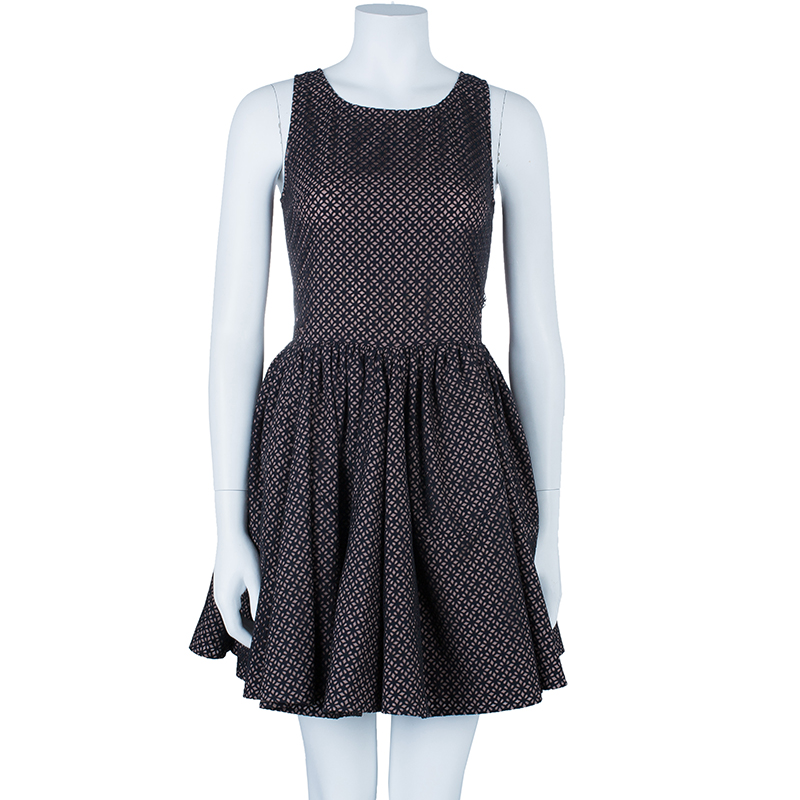 Azzedine Alaia Monochrome Flare Dress M