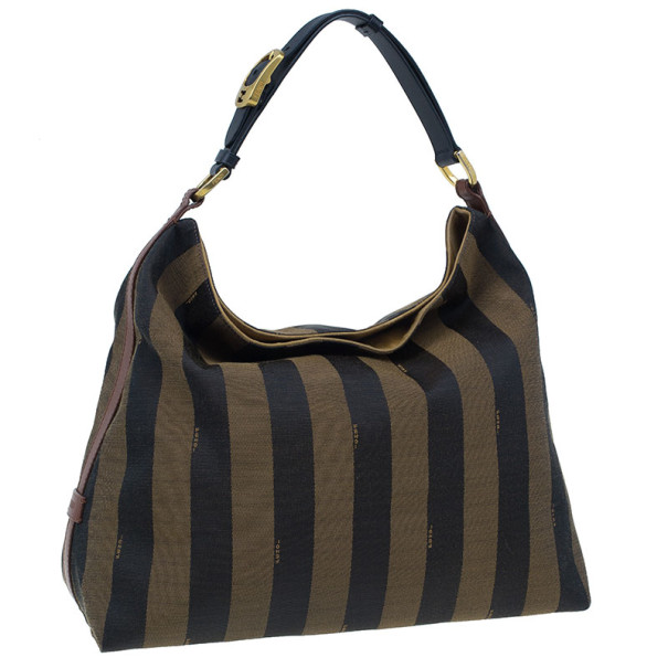 Fendi Brown Canvas and Leather Large Pequin Hobo