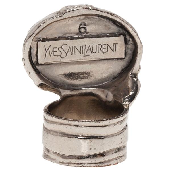 Saint Laurent Paris Silver Tone Arty Ring Size 54