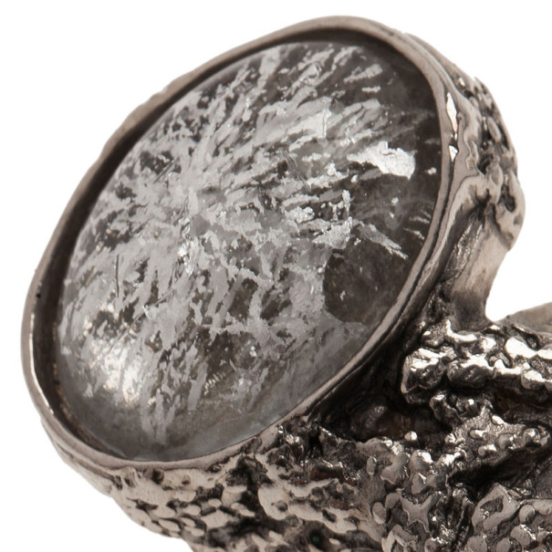 Saint Laurent Paris Silver Tone Arty Ring Size 54