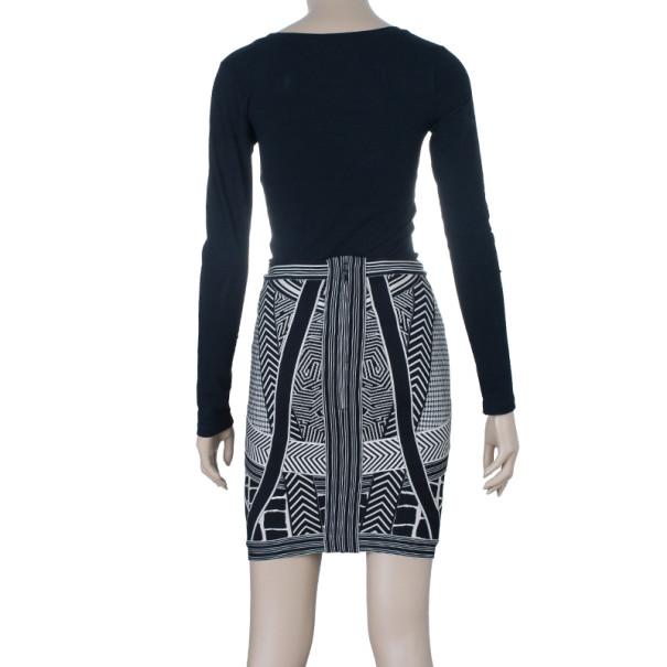 Herve Leger Jacquard Bandage Mini Skirt S