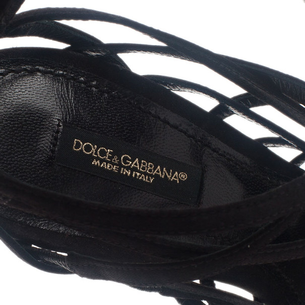 Dolce and Gabbana Black Satin Strappy Back Zip Sandals Size 37