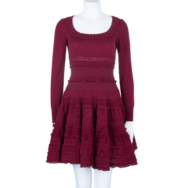 Azzedine Alaia Red Knit Skater Dress M