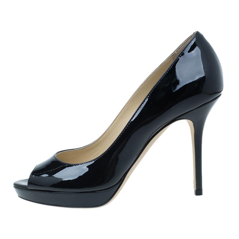 Jimmy Choo Black Patent Luna Peep Toe Pumps Size 38