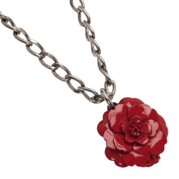 Chanel Camellia Red Pendant Necklace