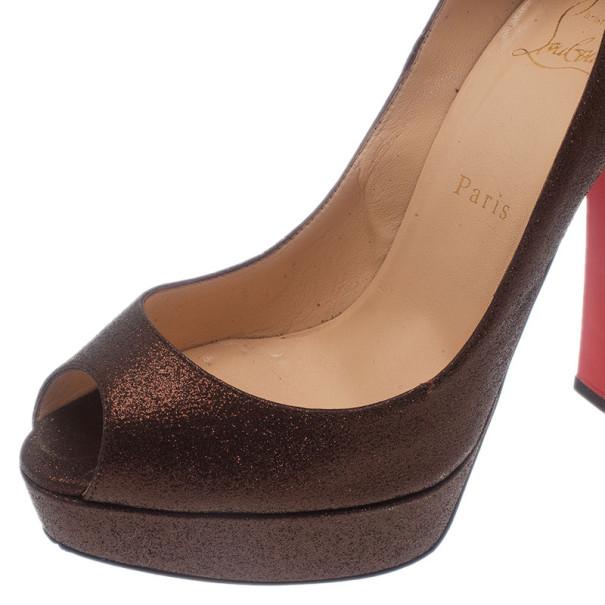 Christian Louboutin Bronze Glitter Bambou Peep Toe Platform Pumps Size 38.5