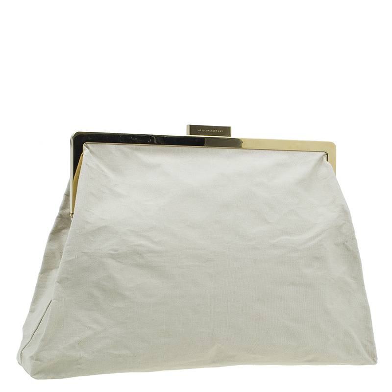 Stella McCartney Beige Canvas Oversized Daisy Clutch