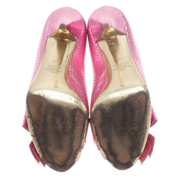 Valentino Pink Python Embossed Bow Pumps Size 38.5