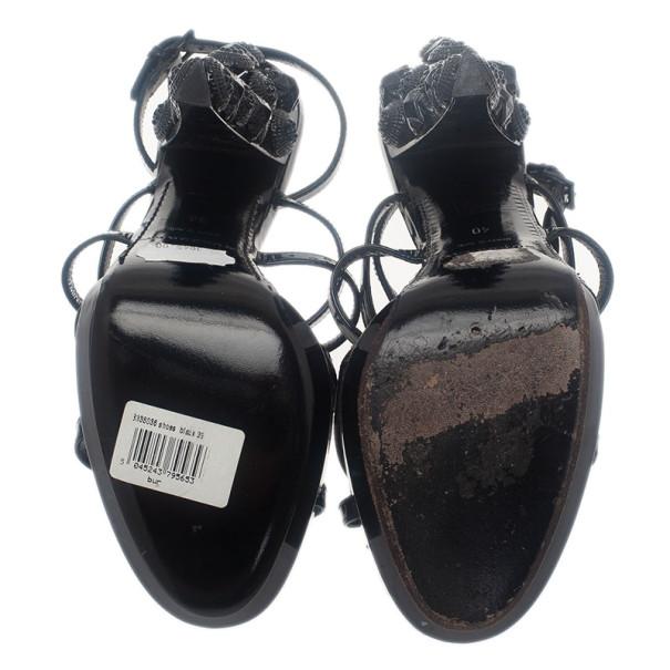 Burberry Prorsum Black Patent Warrior Strappy Sandals Size 39