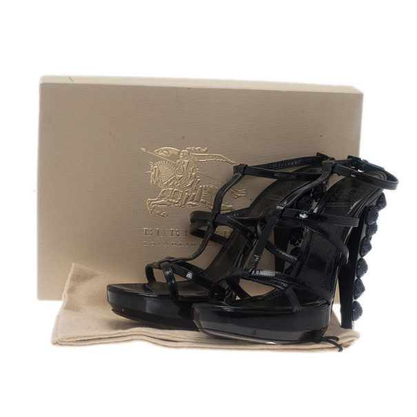 Burberry Prorsum Black Patent Warrior Strappy Sandals Size 39