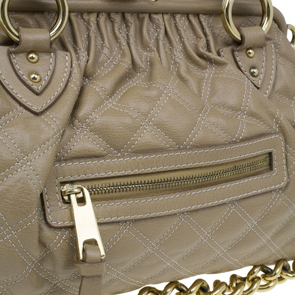 Marc Jacobs Beige Quilted Leather Stam Bag