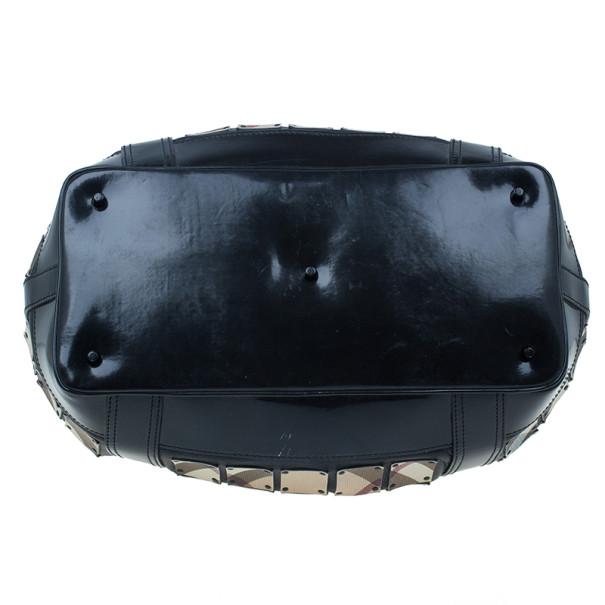 Burberry Black Nova Check Leather Warrior Armor Hobo
