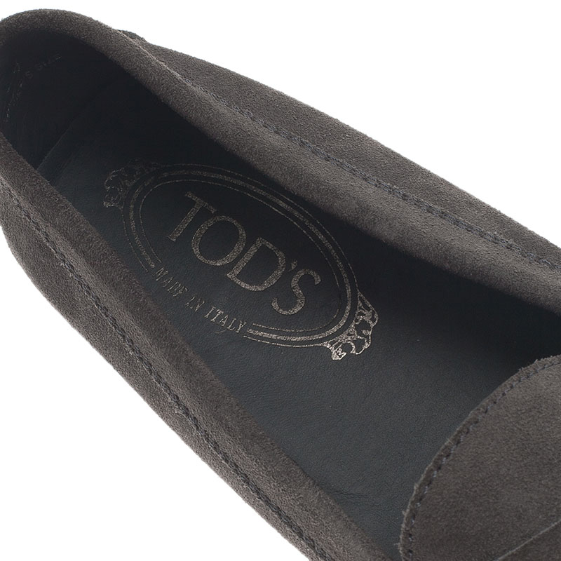 Tod's Grey Suede Penny Loafers Size 38