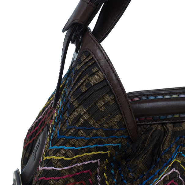 Fendi Brown Leather Doctor B. Multicolor Stitch Shoulder Bag