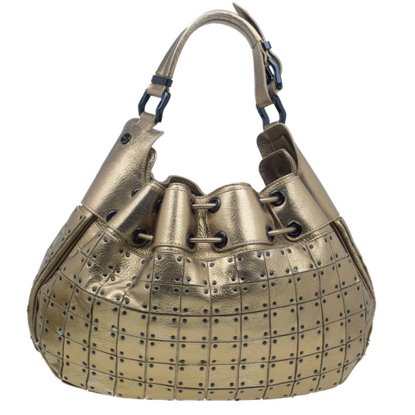 Burberry Gold Leather Prorsum Studded Warrior Bag