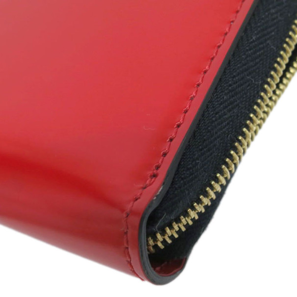 Celine Red Leather Zip Around Continental Wallet