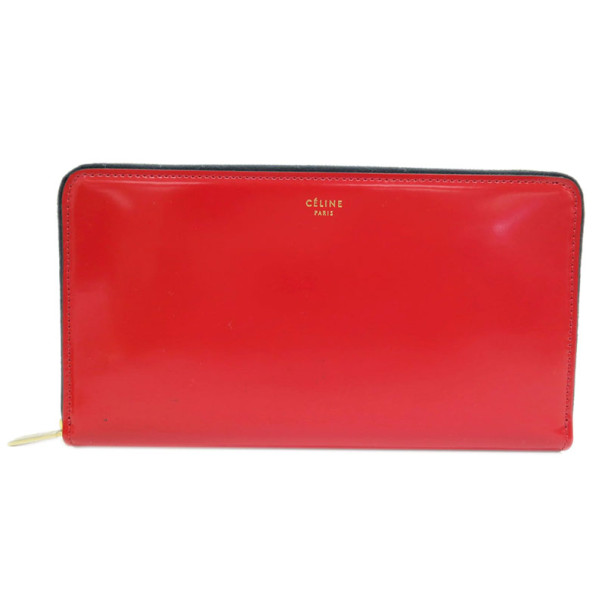 Celine Red Leather Zip Around Continental Wallet