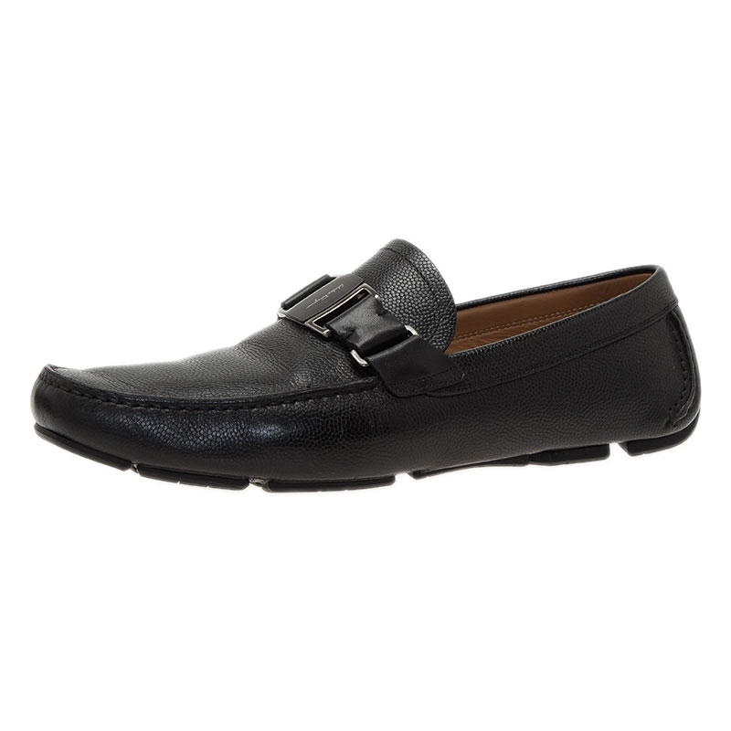Salvatore Ferragamo Black Leather Sardegna Loafers Size 43
