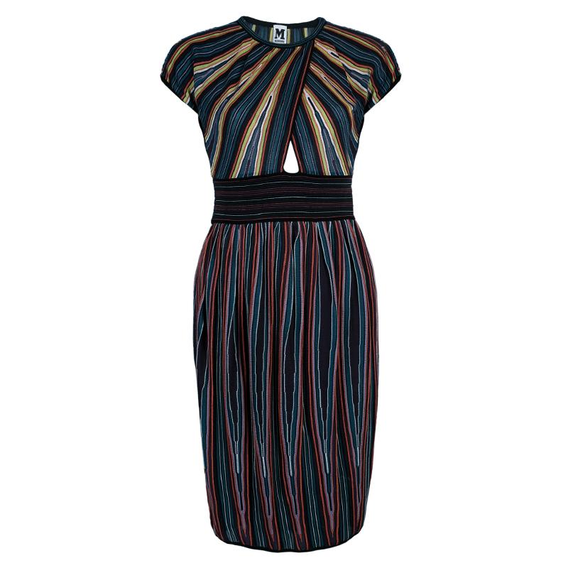 M Missoni Criss-Cross Short Sleeve Pleated Multicolor Dress M