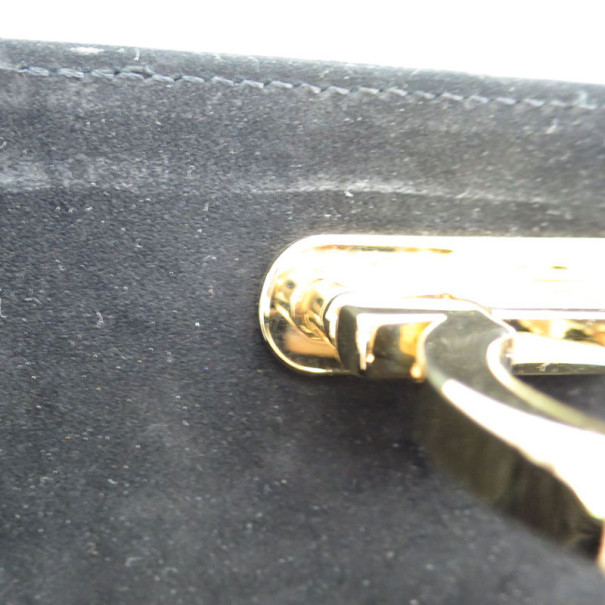 Salvatore Ferragamo Black Nubuck Gancini Shoulder Bag
