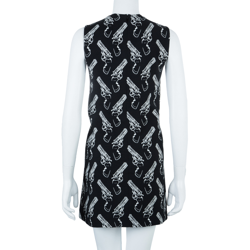Saint Laurent Paris Gun Print Sleeveless Shift Dress S