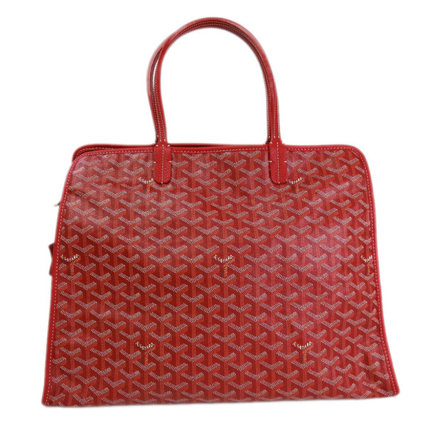 Goyard Red Canvas Hardy Tote PM