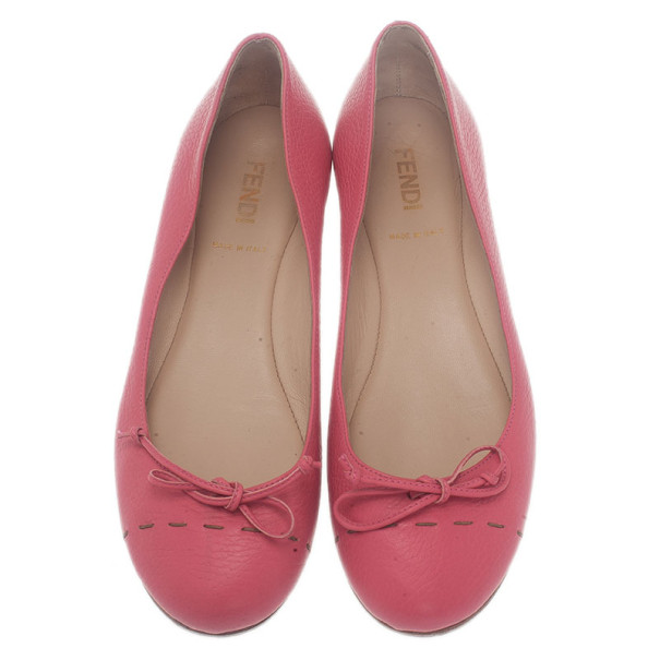 Fendi Pink Leather Bow Ballet Flats Size 37