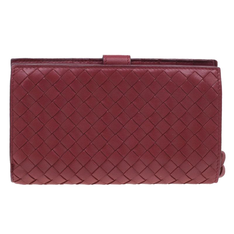 Bottega Veneta Red Nappa Leather Tourmaline Intrecciato Continental Wallet