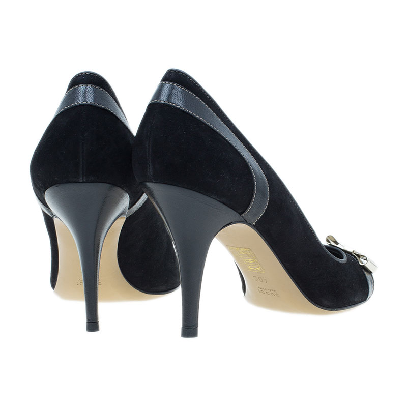 Gucci Black Suede and Leather Bow Pumps Size 40