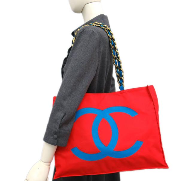 Chanel Red Canvas Shopper Tote