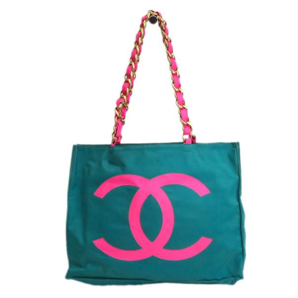 Chanel Green Canvas Shopper Tote