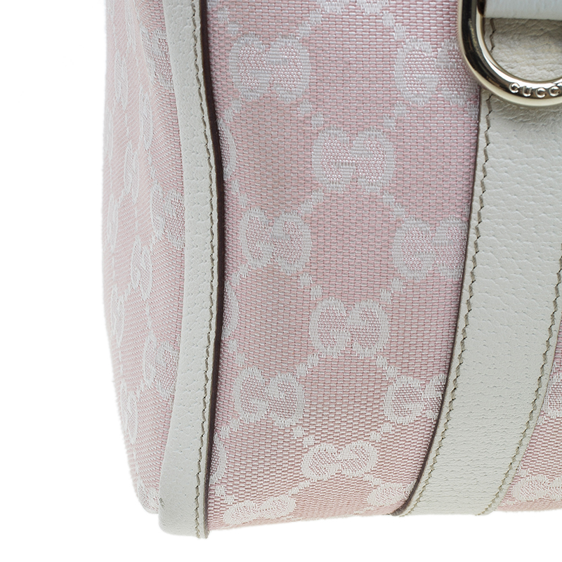 Gucci Pink GG Canvas D-Ring Boston Bag